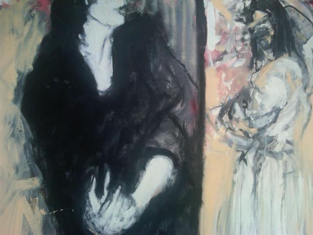 1.''Doubt and the angel'' 32x40'' oil and pencil on paper framed- $2500.00