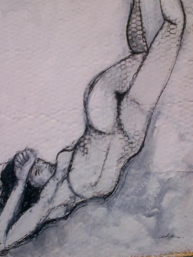 6.''Nude#1'' 21.5x26'' charcoal on cardboard                              unframed-$200.00