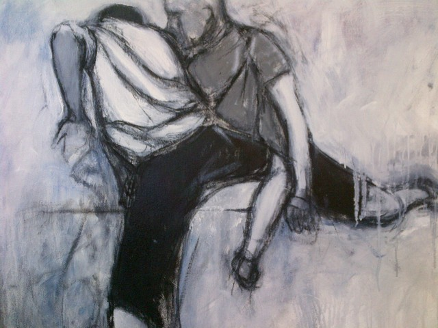 7.''The Fence'' 24x30'' oil and charcoal on canvas                     $500.00