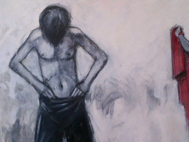 8.''And then youth'' 30x40'' oil and charcoal on canvas               $800.00